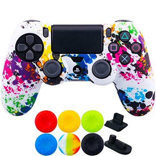 (9CDeer 1 Piece of SiliconeTransfer Print Protective Cover Skin + 6 Thumb Grips & Dust Proof Plugs for PS4/Slim/Pro Controller Graffiti)