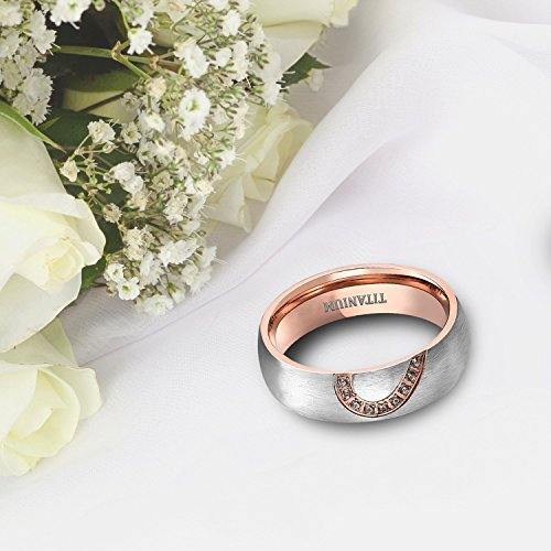 TIGRADE Real Love HeartTitanium Wedding Bands Couple Engagement Rings CZ Inlaid (women's, 9.5) by TIGRADE (Image #3)