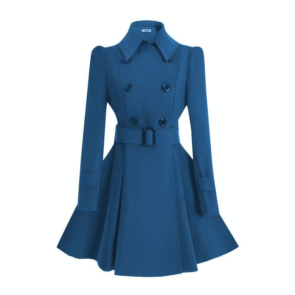 ForeMode Women Swing Double Breasted Wool Pea Coat with Belt Buckle Spring Mid-Long Long Sleeve Lapel Dresses(Shaded Spruce,S)