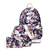 Teecho Cute School Backpack for Girl Stylish Laptop Backpack Set 3 Pieces for Women Big Flower