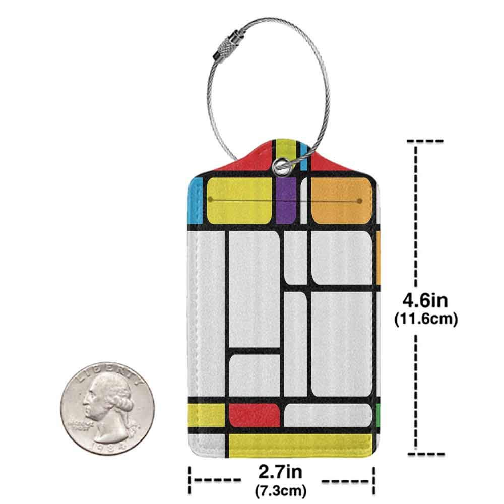 Multi-patterned luggage tag Modern Decor Geometric Vector Abstract Squared Shapes Lines Artwork Image Double-sided printing Red Earth Yellow and White W2.7 x L4.6