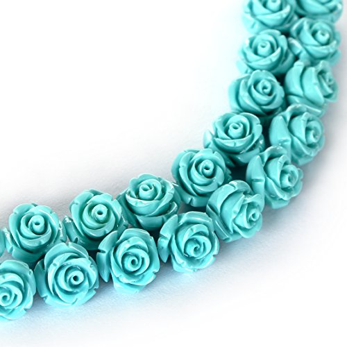 Carved Flower Beads - BRCbeads Top Quality 8mm TURQUOISE Synthetic Turquoise Carved Rose Howlite Coral Flower Carving Loose Beads 20 pcs per Bag For Jewelry Making