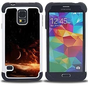 Dragon Case- Dise?¡Ào de doble capa pata de cabra Tuff Impacto Armor h??brido de goma suave de silicona cubierta d FOR Samsung Galaxy S5 I9600 G9009 G9008V- GALAXY SUN UNIVERSE ORANGE EXPLOSION STAR