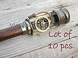 Omaira Naaz 10 Pieces Brass Steam Engine Handle Walking Stick~Vintage Wooden Walking Cane A