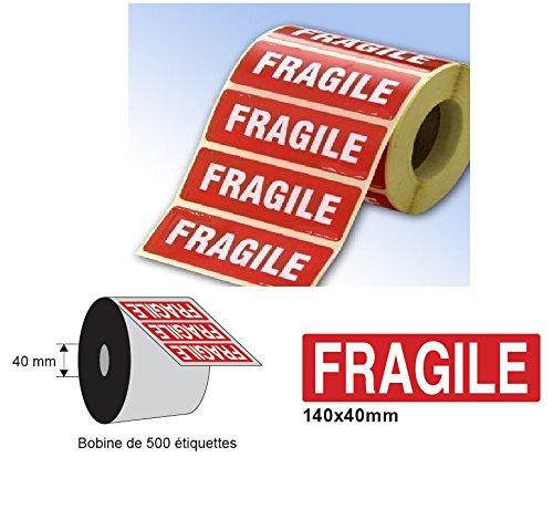 ETICHETTA 1 500 FRAGILI etichette fragile rotolare 140 x 40 millimetri pacchetti lettera di spedizione