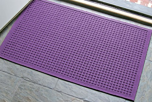 WaterHog Fashion Commercial-Grade Entrance Mat, Indoor/Outdoor Charcoal Floor Mat 3′ Length x 2′ Width, Purple by M+A Matting