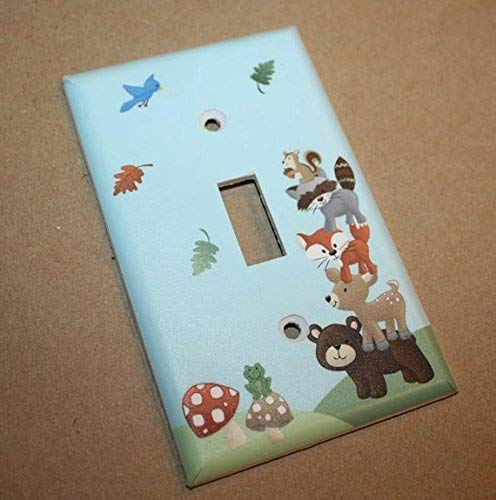Forest Animal Woodland Friends Stacked Forest Critters Boys Bedroom Baby Nursery Single Light Switch Cover LS0021 (Triple Standard)