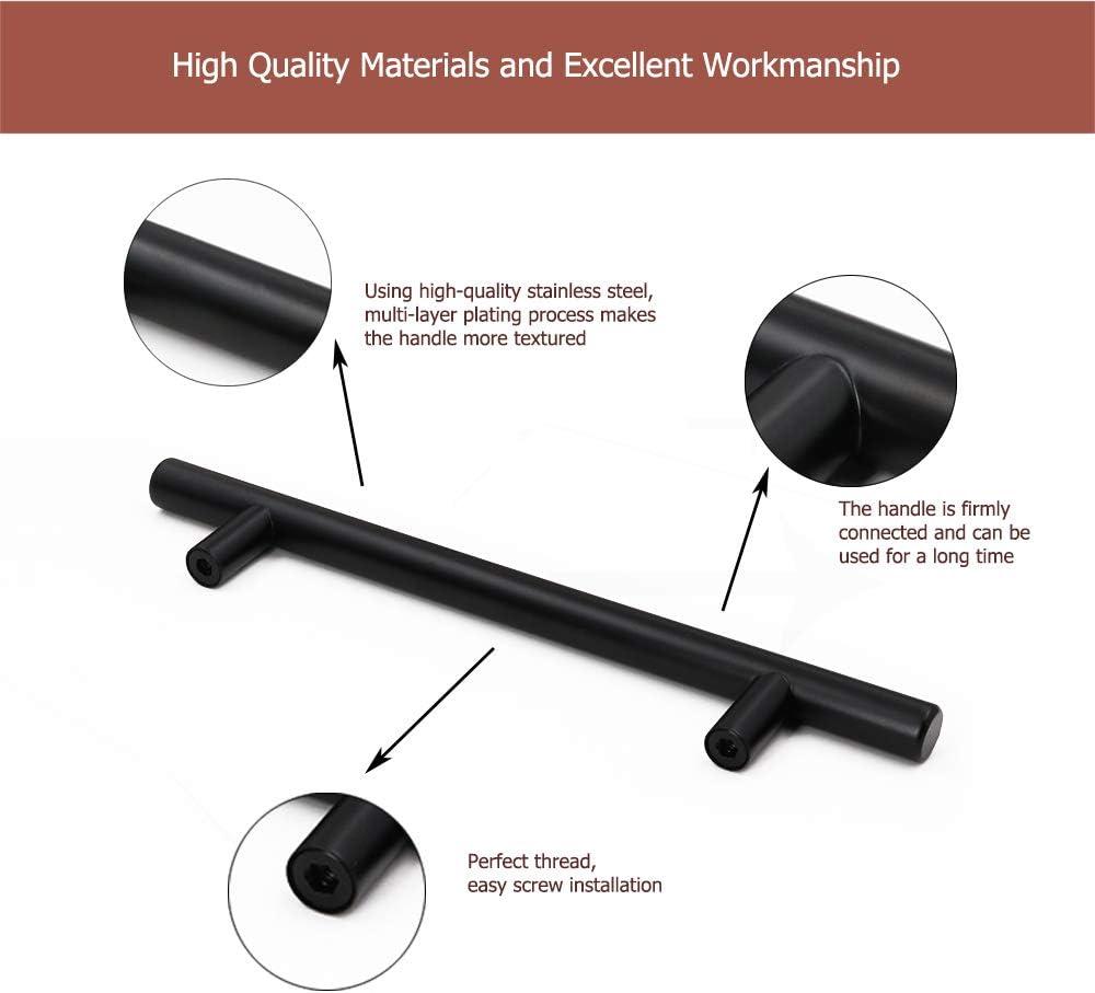 Tiradores Goldenwarm para muebles y armarios de cocina n/íquel negro forma de T 20/unidades acero inoxidable