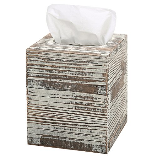 MyGift Rustic Torched Barnwood Brown Square Tissue Box Cover with Slide-Out Bottom Panel