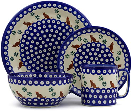 Polish Pottery 4-Piece Place Setting (Traditional Kitty Theme) + Certificate of Authenticity - Kitty Cat Pottery