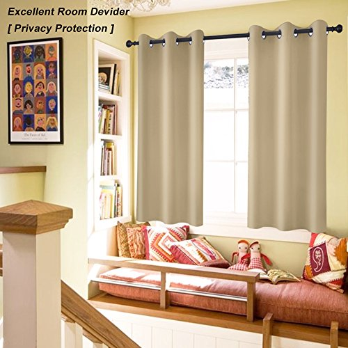 GIAERD Thermal Insulated Grommet Blackout Curtains for Bedroom (2 Panels,Wide 52
