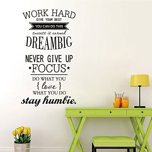 Ducklingup Wall Decal Quote Work Hard, Dream Big, Never Give up, Stay Humble Decal Teamwork Vinyl Stickers Home Bedroom Motivation Quote Wall Sticker (Motivational Wall Sticker Quotes)