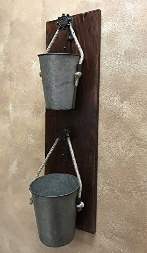Burgundy Pail (BUCKET Herb Garden Flower Planter Pot Wall Double Tin Pail SCONCE with Metal Hooks *Reclaimed Country Rustic Distressed Unique Wood Decor - Antique Barn Red, White (Off-White) *Flowers NOT included)