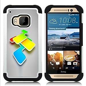 """HTC One M9 /M9s / One Hima - 3 en 1 impreso colorido de Altas Prestaciones PC Funda chaqueta Negro cubierta gel silicona suave (Colores"""")"""