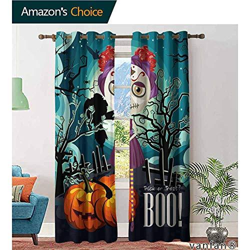 LQQBSTORAGE Halloween,Curtains,Cartoon Girl with Sugar Skull Makeup Retro Seasonal Artwork Swirled Trees Boo, Customized Curtains,Multicolor]()