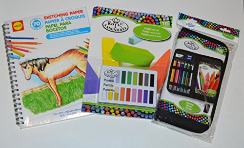 Royal Langnickel Drawing Artist Set for Beginners Bundle with Colored Pencils and Alex Sketching Paper and Pastel Pack