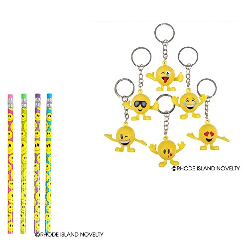"RINCO Bundle: Lot of 12 Smiley Face Pencils and a Lot of 12 Emoji Guy (1.5"" Tall) Keychains"