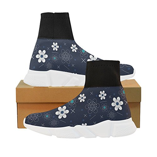LEINTEREST blue flower Unicorn Stretch Sock Shoes for Women