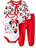 Disney Baby Girls' Minnie Mouse 3-Piece Bodysuit, Footed Pant, and Jacket Set
