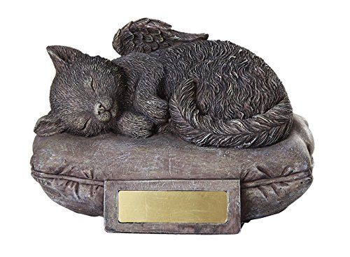 Pet Memorial Angel Cat Sleeping On Pillow Cremation Urn Bottom Load 30 Cubic Inch