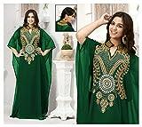 OKM Women's Dubai Style Kaftan Caftan Farasha Maxi Dress DN16 - Dark Green