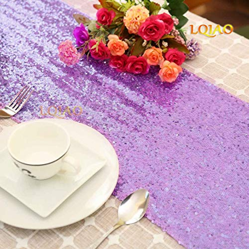 LQIAO Sequin Fabric Lilac Table Runner-12x72in Wedding Party Decoration Fring Sequin Curtain for Door Shimmer Home Curtain Backdrop DIY -