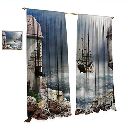 Sailboat Decor Curtains by A Pirate Merchant Ship Anchored in The Bay of Fort Abandoned Rocks at Shore Patterned Drape for Glass Door W108 x L84 Pale Muave Beige.jpg ()