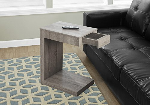 Monarch Specialties I 3191 Accent Table with A Drawer, Dark Taupe