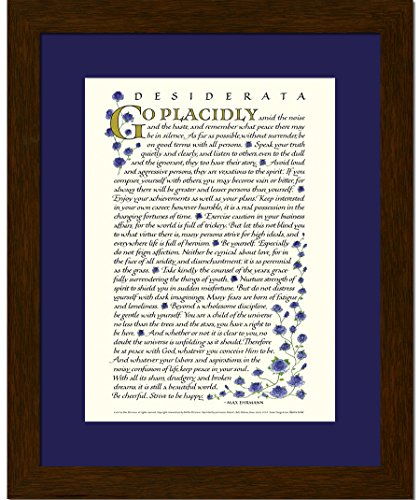 (Ink Monkey Press Desiderata by Max Ehrmann - 8x10 Blue Roses Print Framed )
