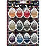 Tsukineko Memento Dew Drops Fade Resistant 12-Piece Dye Inkpads Assortment, Snow Cones
