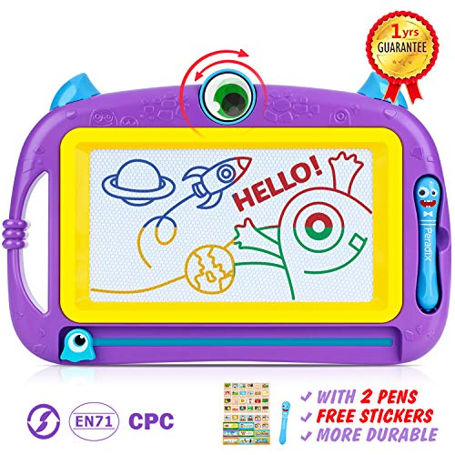 Peradix Magnetic Drawing Board for Kids, Travel Size Magna Doodle 12.6X8.3inch Portable Monster Kids Drawing Board Erasable, Toys Gifts for 2/3/4 Years Old, with Bonus 2 Pen+Stickers