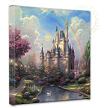 """Thomas Kinkade - Gallery Wrapped Canvas , A New Day at the Cinderella Castle , 14"""" x 14"""" , 55389"""