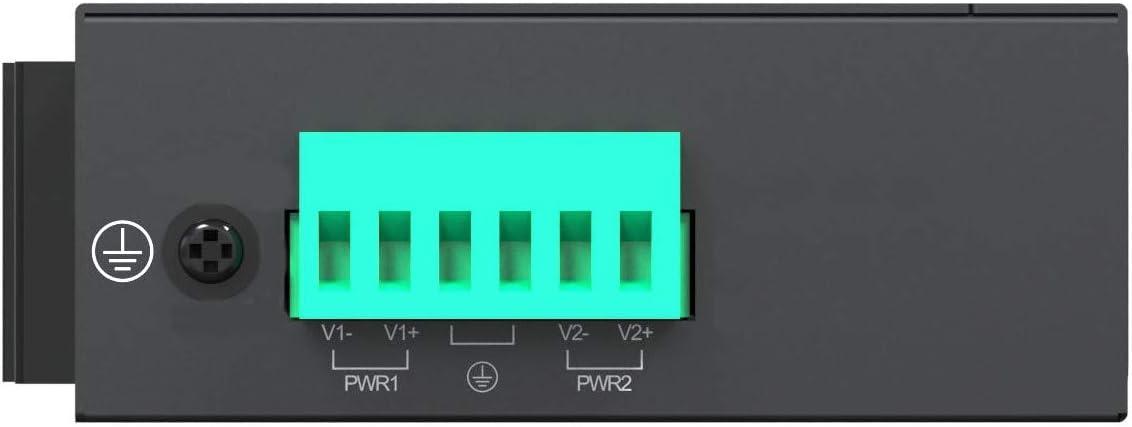 12-48Vdc Input,Fiber Port Din Rail Installation IEEE802.3af at Procet Single Port Gigabit Boost Power Over Ethernet PoE Injector Switch 60W 55V Wide Temperature 6KV Surge Protection PT-PSE105GWS-E