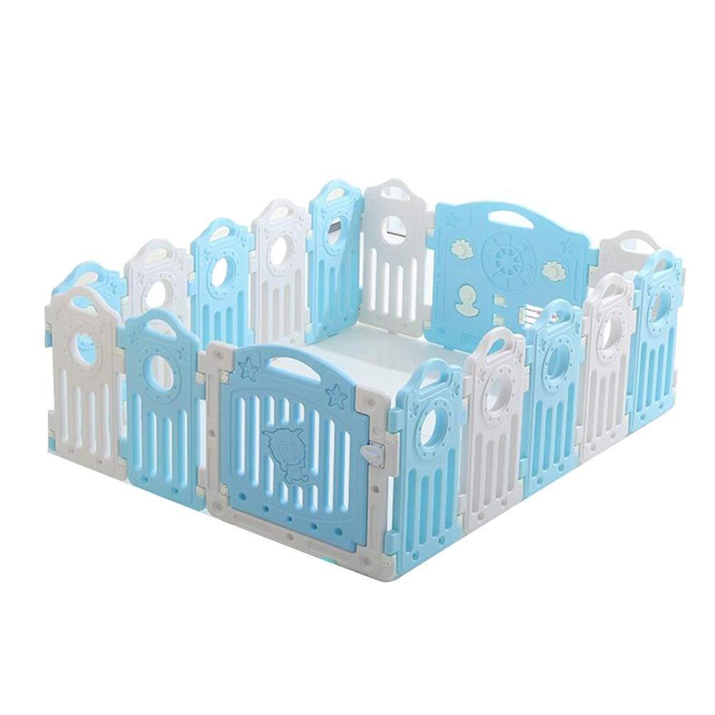 CHAXIA ベビーサークル 赤ちゃん の柵 ゲームベッド 活動センター 安全性 高まり フェンス 16パネル (色 : 青, サイズ さいず : 152x184x69cm) 152x184x69cm 青 B07S8KPSW2