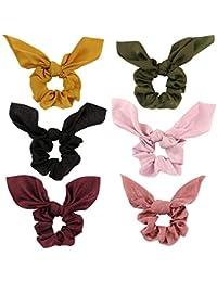 6 Pack Hair Elastic Scrunchies Chiffon Hair Scrunchies Hair Bow Chiffon Ponytail Holder Bobbles Soft Elegant Bow Scrunchies for Women Hair Ties, 6 Colors Scrunchies with Ribbon