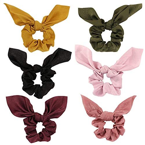 (Jaciya 6 Pack Hair Elastics Scrunchies Chiffon Hair Scrunchies Hair Bow Chiffon Ponytail Holder Bobbles Soft Elegant Elastic Hair Bands Hair Ties, 6 Colors (6 Pack Bow Scrunchies))