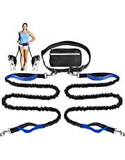 Hands Free Dog Leash for Running Walking Training Hiking, Dual-Handle Reflective Bungee, Poop Bag Dispenser Pouch, Adjustable Waist Belt, Shock Absorbing, Ideal for Medium to Large Dogs (Black+Green)