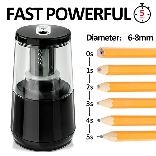Electric Pencil Sharpener, Blades Durable and Portable Pencil Sharpener Small Electric electric pencil sharpener Heavy Duty with Automatic Sharpens Pencils for Kids Children ,Black Pencil Sharpener Photo #5