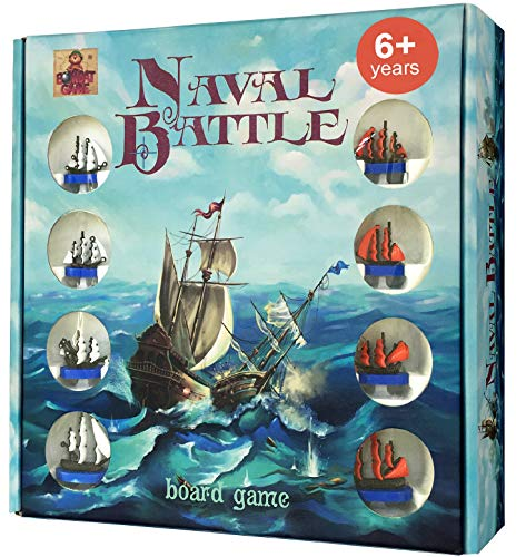 Naval Battle - Tactic and Strategy Battleship Board Game for Kids 6 and up - Best Two Player Board Games for Boys and Girls - Action and Adventure Kids Board Games