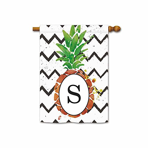 Hamory Pineapple with Stripes Letter Banner Monogram S House Flags for Outside 28x40 Inch Printed Both (Pineapple Monogram Flag)
