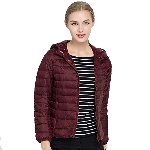 Red Packble Down Women's Quilted Wine Down Hooded Quibine Coat Jacket Ultralight nSfEv