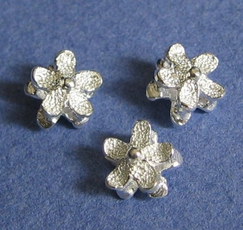 4 pcs .925 Sterling Silver Stardust/Satin Daisy Flower Spacer ()