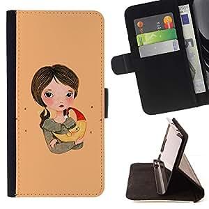 For Sony Xperia M4 Aqua Case , Chica Dibujo Arte Noche Madre Chica- la tarjeta de Crédito Slots PU Funda de cuero Monedero caso cubierta de piel
