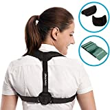 Back Posture Corrector for Women & Men - Adjustable Clavicle Brace for Posture Correction Back Corrector + Resistance Stretching Band by GlamyKings + eBook on Improving Lifestyle