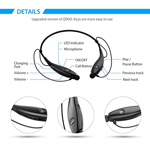 Large Product Image of SoundPEATS Bluetooth Headphones Wireless Headset Stereo Neckband Sport Earbuds with Mic (10 Hours Play Time, Bluetooth 4.1, Sweatproof) - [Upgraded Version of Q900]