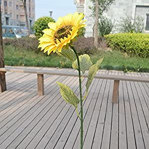 1Pc 75cm Single Large Artificial Sunflower Home Garden Fence Decoration 14