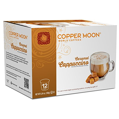 Copper Moon Cappuccino Single Serve Pods for Keurig 2.0 K-Cup Brewers, Caramel Cappuccino, Barista Inspired Sweet Creamy Cappuccino with Caramel Richness, 12 Count