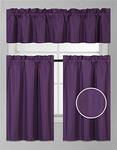 Elegant Home 3 Piece Solid Color Faux Silk Semi Blackout Kitchen Window Curtain Set with Tiers a ...