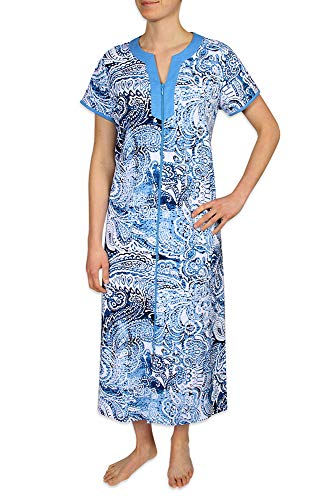 Miss Elaine Plus Size Women's Long Nightgown Made with Interlock Knit Material, with Short Sleeves, Two Inset Side Pockets, and a V-Neckline ()