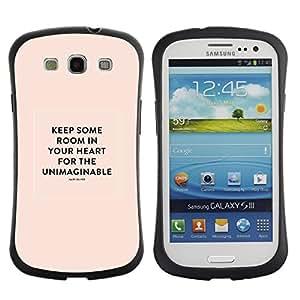 Suave TPU GEL Carcasa Funda Silicona Blando Estuche Caso de protección (para) Samsung Galaxy S3 I9300 / CECELL Phone case / / Heart Inspiring Quote Mary Oliver Peach /